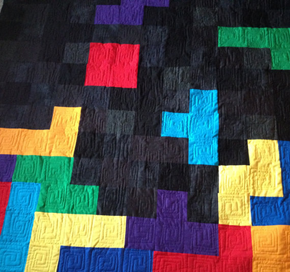 Twin Sized Tetris Quilt