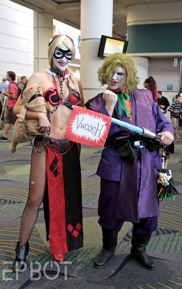 Harley Quinn as Slave Leia and Jedi Joker Cosplay from Star Wars Celebration VI