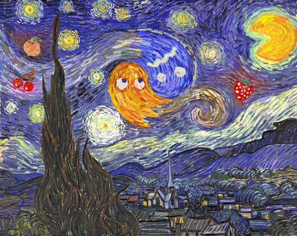 Pac-Man Invades Van Gogh's Starry Night Painting