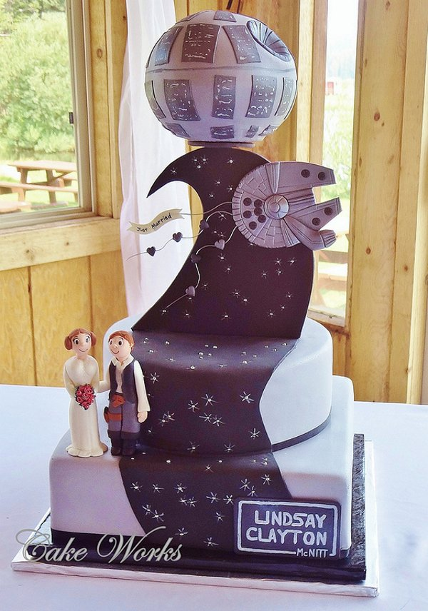 Star Wars Death Star and Millennium Falcon Wedding Cake