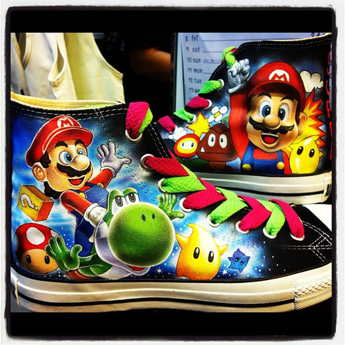 Super Mario Bros Hand-Painted Shoes