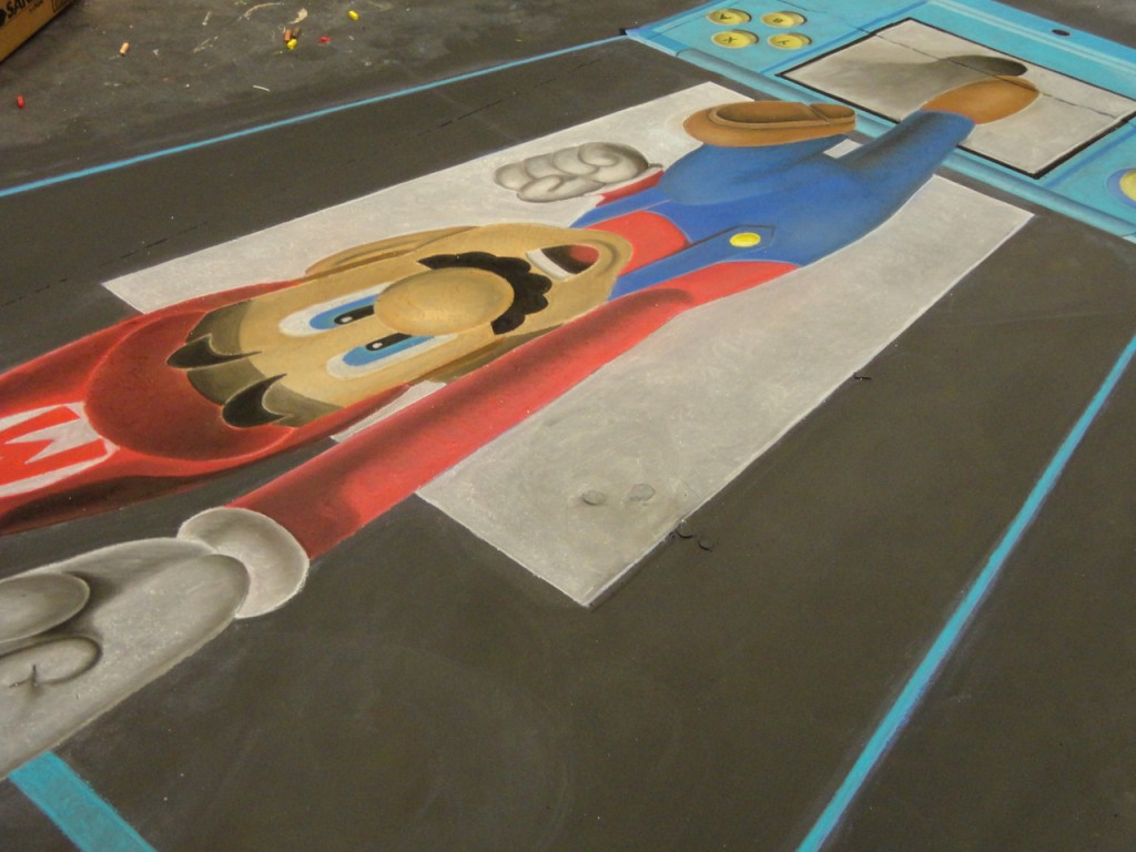Super Mario Nintendo 3DS Chalk Art