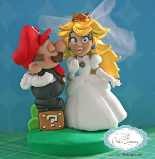 Super Mario and Princess Peach Wedding Cake Topper