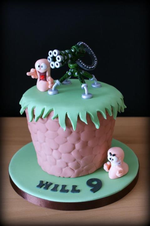 Worms Birthday Cake