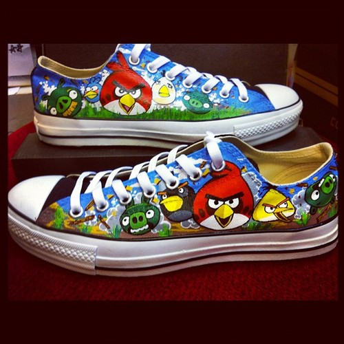 Hand-Painted Angry Birds Shoes