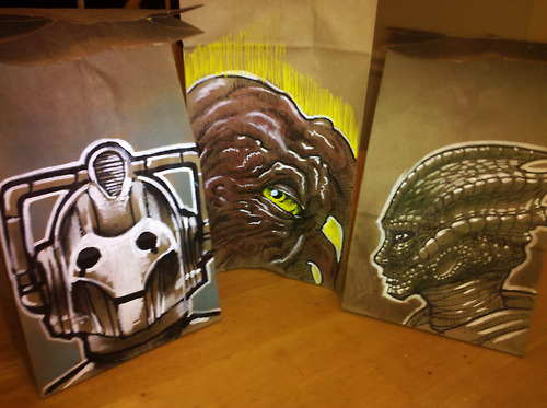 Cyberman, Dalek Prime Minister, and Silurian Lunch Bag Art
