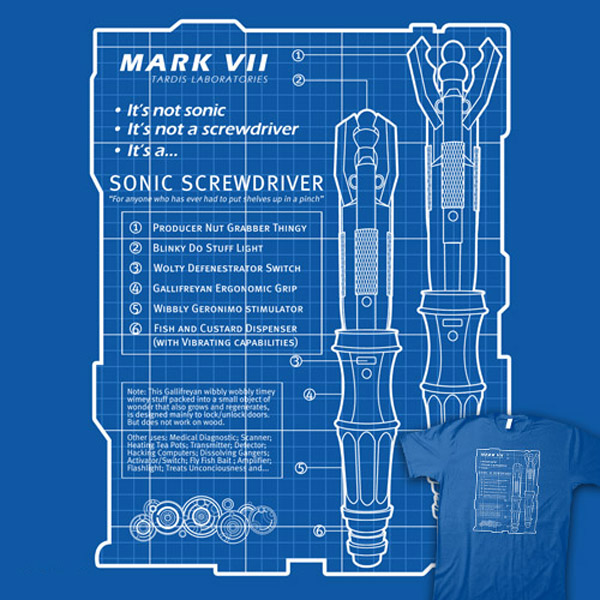 Sonic Screwdriver Blueprint Shirt