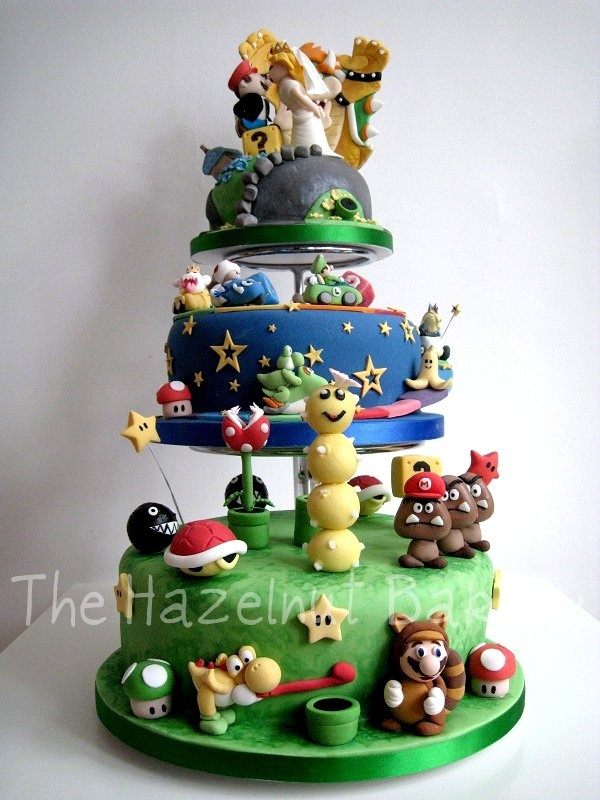 Super Mario and Mario Kart Wedding Cake