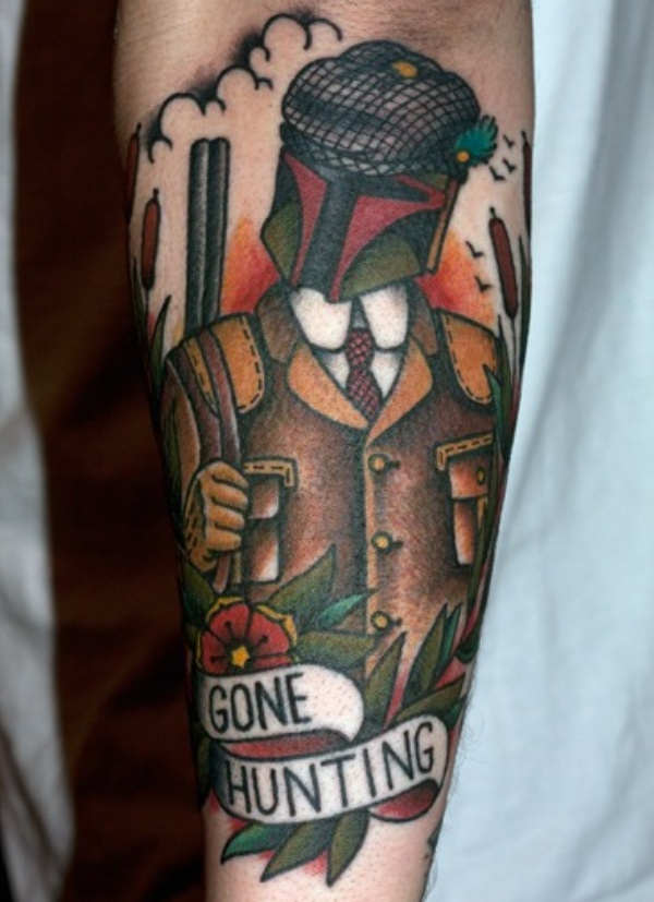 Star Wars Boba Fett Gone Hunting Tattoo