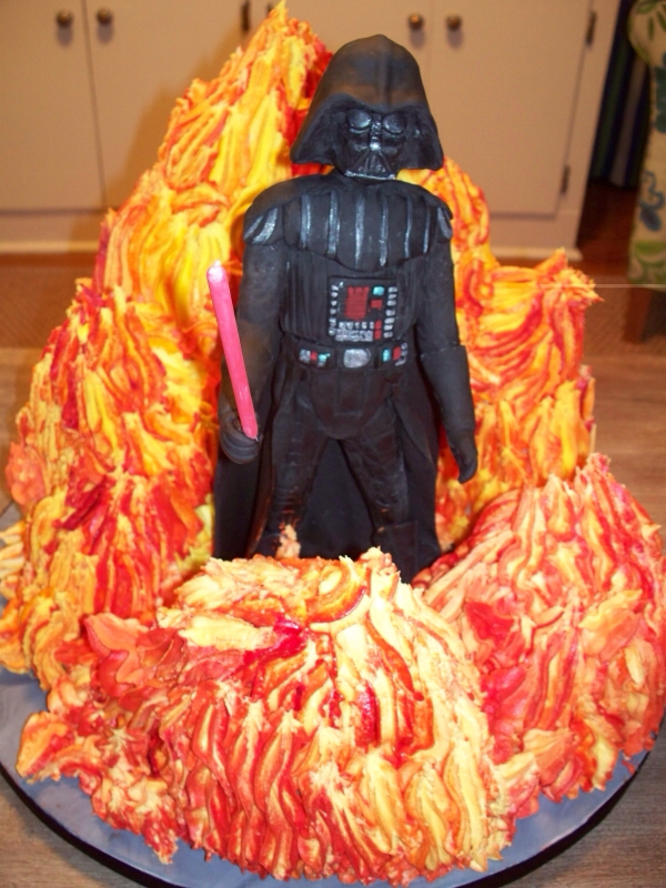 Star Wars Darth Vader in Flames Cake