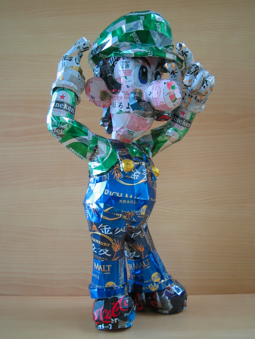 Luigi Made From Pop Cans