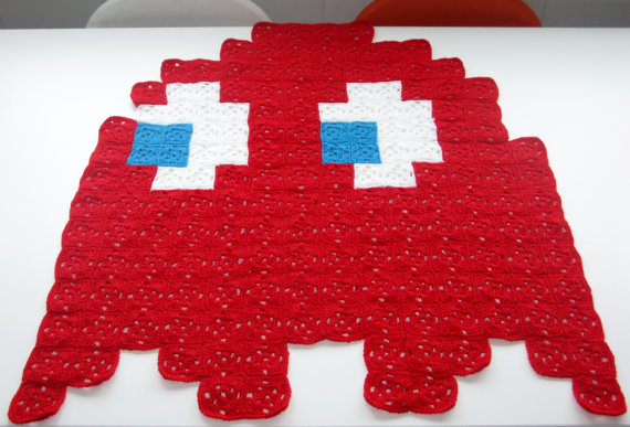Pac-Man Red Ghost Crochet Blanket