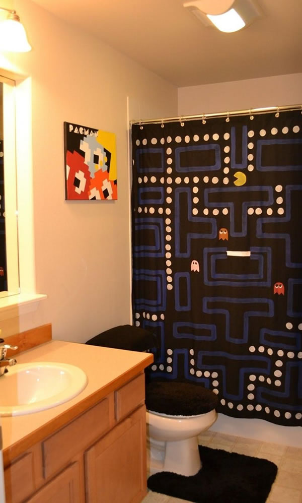 DIY Pac-Man Shower Curtain