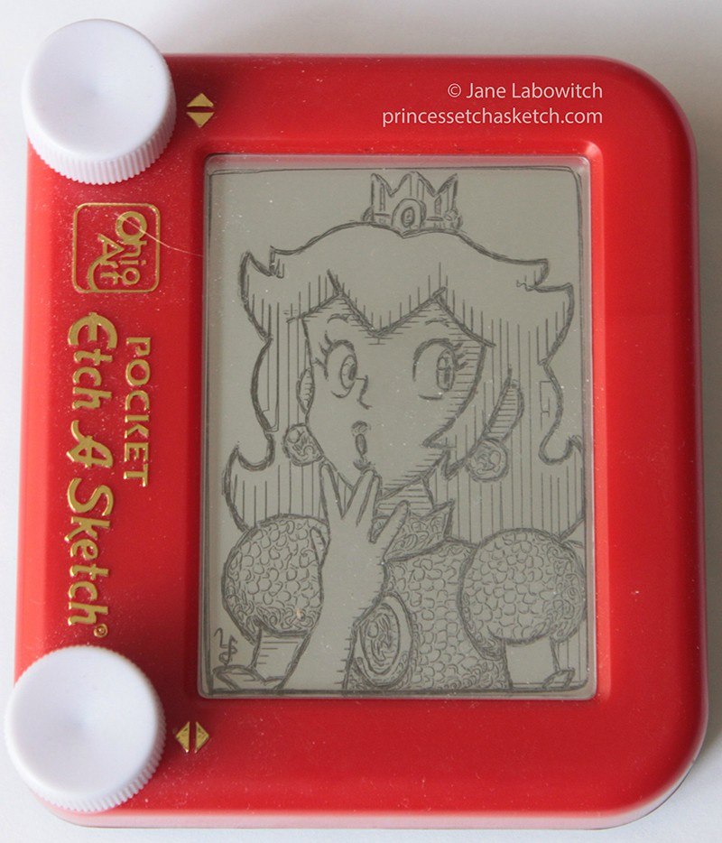 Princess Peach Etch-A-Sketch Drawing