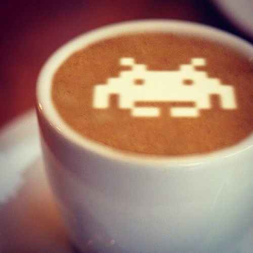 Space Invaders Latte Art
