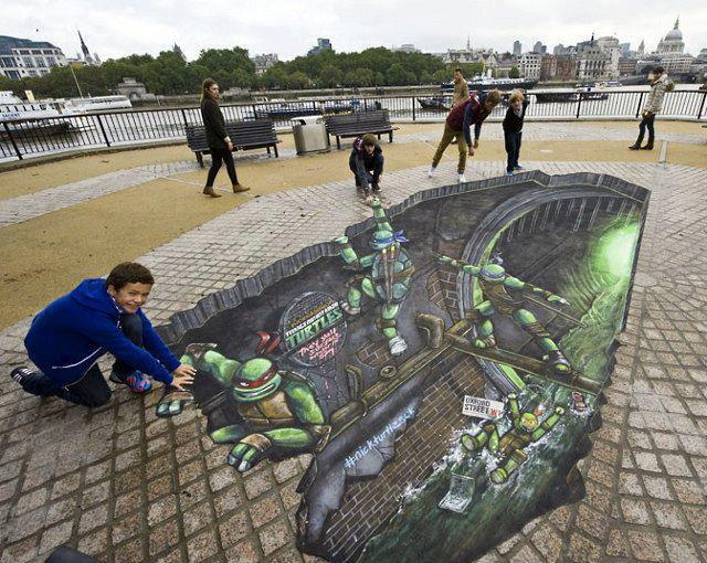 Teenage Mutant Ninja Turtles Sidewalk Art