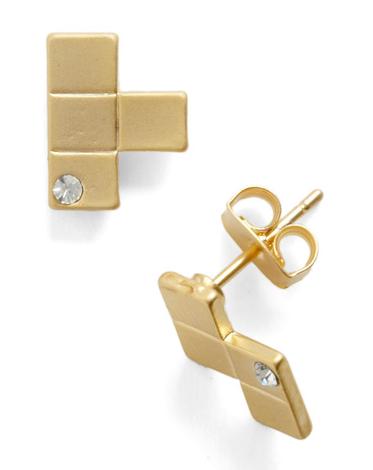 Metal Tetris Earrings