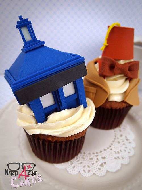 Doctor Who TARDIS and 11th Doctor Cupcakes
