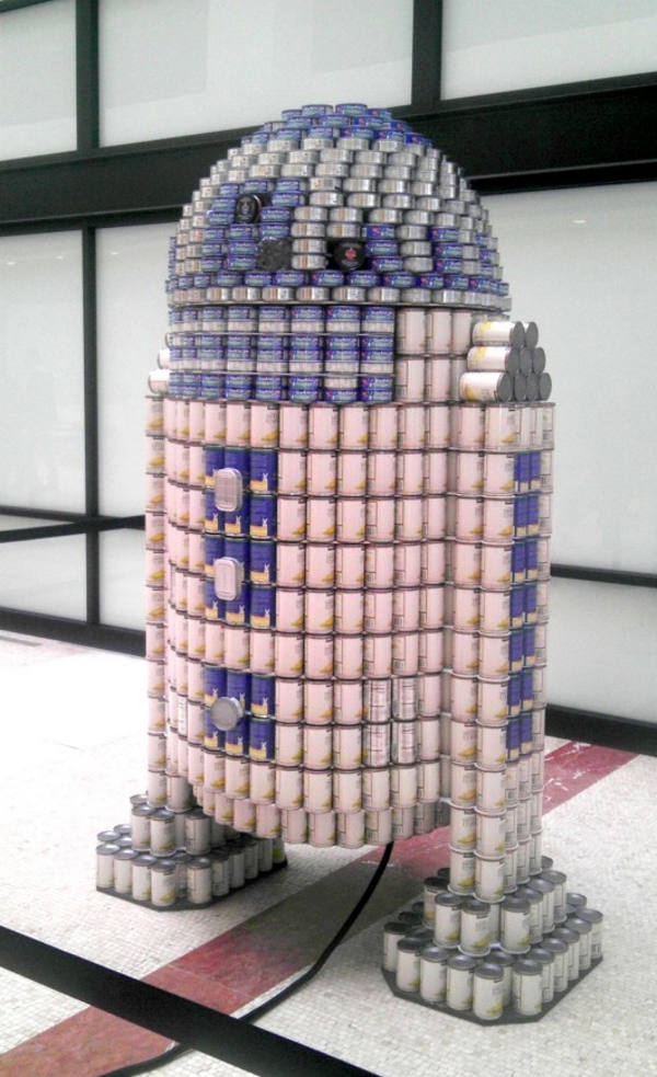 Star Wars R2-D2 Canned Food Sculpture