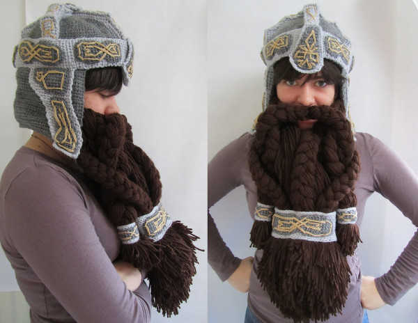 Lord of the Rings Crochet Dwarf Helm and Beard