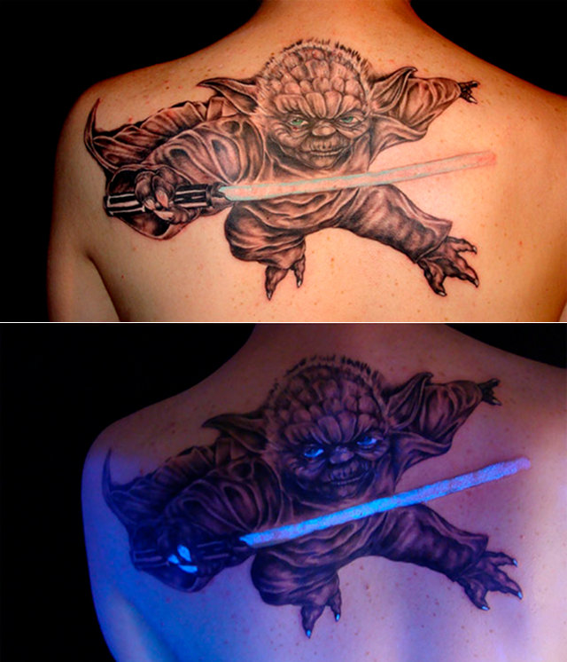 Glowing Yoda Tattoo