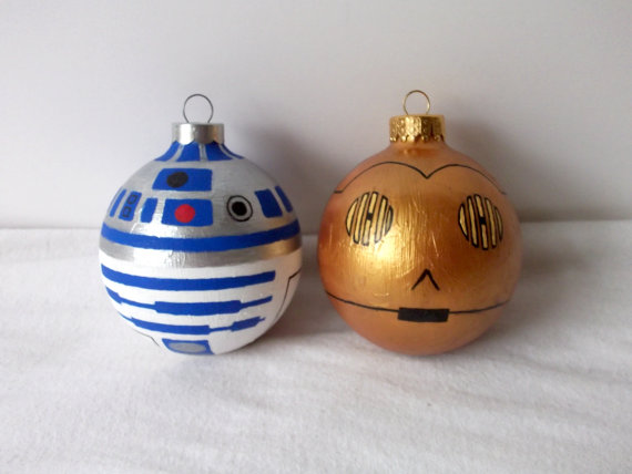 Star Wars R2D2 C3PO Painted Christmas Ornament Set pic