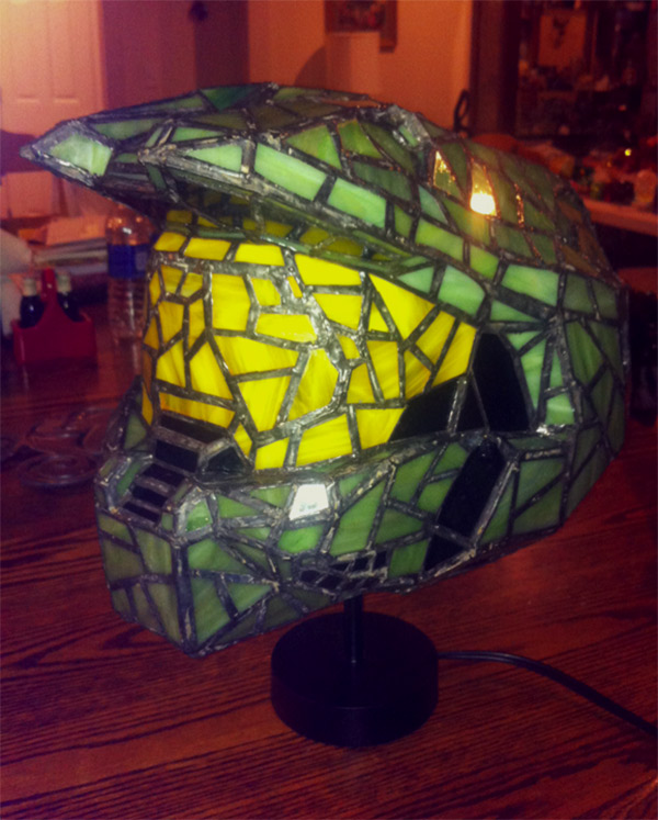 Halo Helmet Stained Glass Lamp
