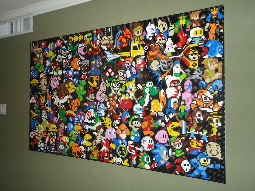 This lego wall mural is an epic tribute to video games for Character mural
