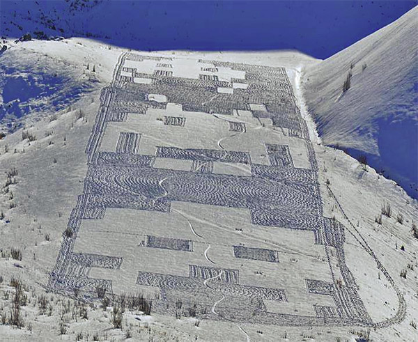Space Invaders Snow Art on a Mountain