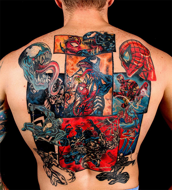 Mind blowing spider man vs venom comic book full back for Marvel comics tattoos