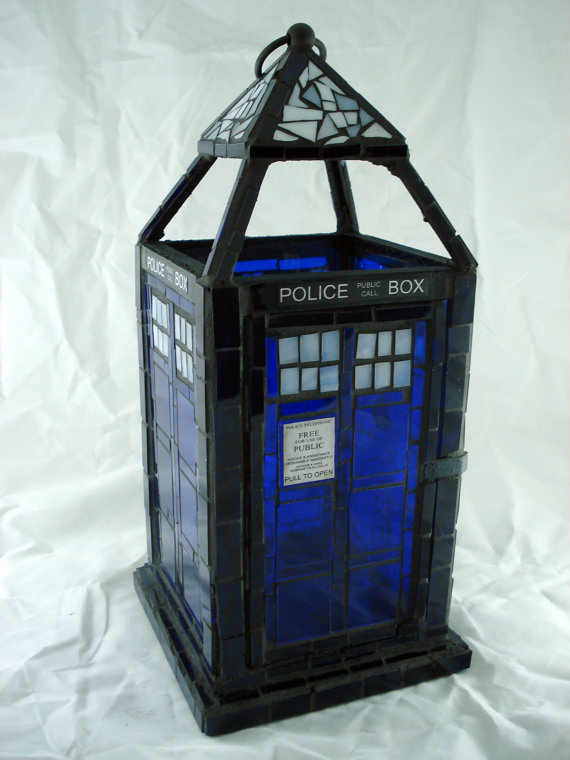 TARDIS Stained Glass Lantern