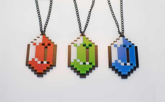 Zelda Rupee Pixelated Pendants
