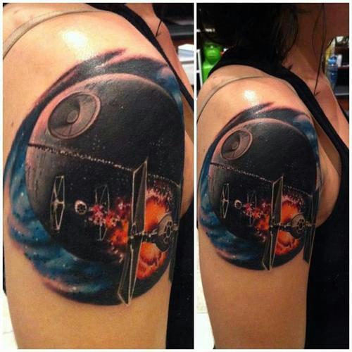 Death Star Shoulder Tattoo