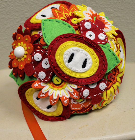Super Mario Fireflower Wedding Bouquet