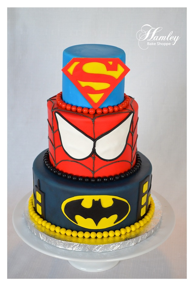 Superman, Spider-Man and Batman Cake