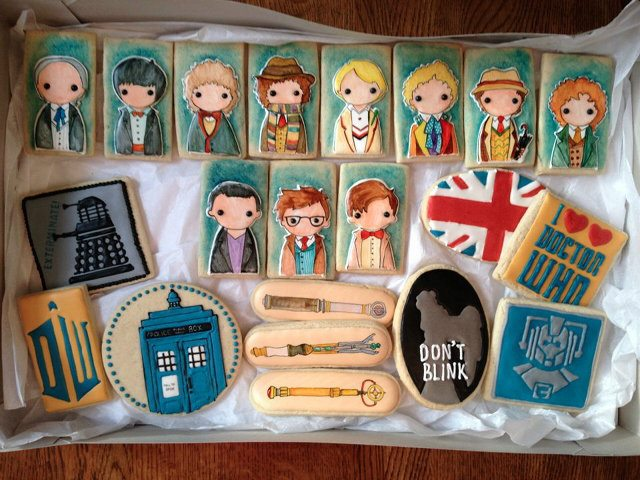 Doctor Who Frosted Cookies