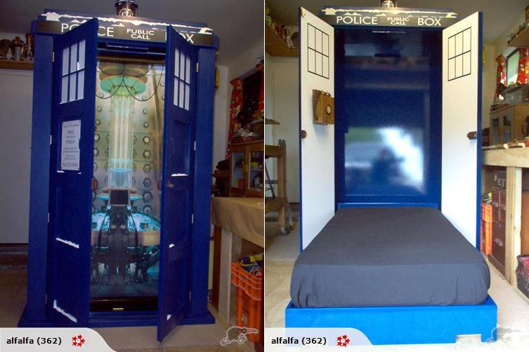 This tardis fold down bed is the bed of my dreams pics for Geek bedroom ideas
