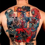 Mind Blowing Spider-Man Vs. Venom Comic Book Full Back Tattoo [pic]
