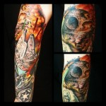 Amazing Star Wars Death Star and Millennium Falcon Tattoo [pic]