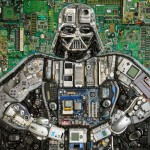 Darth Vader Mosaic Made From Electronics